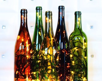Recycled Wine Bottle Light - Wine Bottle Lamp - Wine Decor - Wine Gifts - Summer Decor - Bohemian Decor- Gifts for Her - Wine Bottle Decor