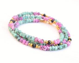 Wrap bracelet, Sea green bracelet, Beaded wrap bracelet, Fuchsia bracelet, Hematite jewelry, Stone beads bracelet, Boho beaded bracelet