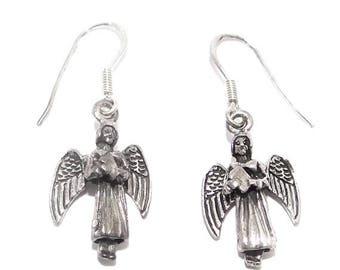 SALE Sterling Angel Earrings - Vintage Silver Guardian Angels -  Movable Wings - Pierced Earrings on Sterling Earwires