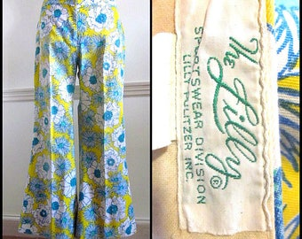 The LILLY Pants / Vintage Lilly Pulitzer Pants / 60s Lilly Pulitzer Pants / Yellow and Blue Lilly Pulitzer / fits L