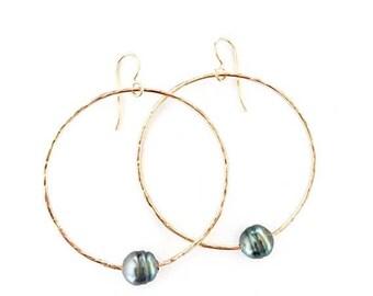 SUMMER SALE Tahitian hoop earrings