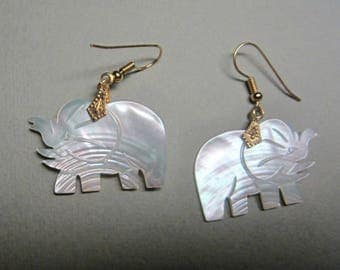 Vintage mother of pearl elephant earrings