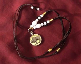 Black Ruthenium and Gold Buffalo Nickel Necklace