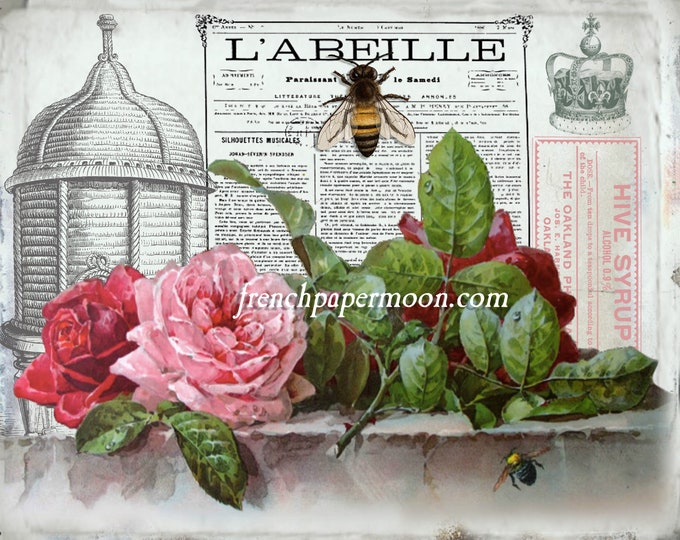 Digital Vintage Shabby French Bee Graphic, Digital Vintage Bee Printable, Vintage Bee, Roses, Large Size Image transfer