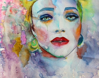 Original Watercolor Painting. Portrait of young lady. Woman. Music in her flesh. Full color.