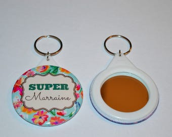 """Keychain mirror """"special godmother"""" pink floral background"""