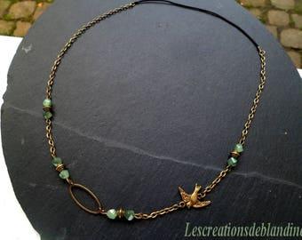 "headband / head band bronze tone green ""bird"""