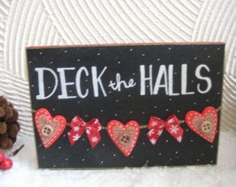deck the halls wooden block christmas decor