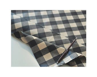 Laminated Coated Cotton Fabric For Sewing Oilcloth by laminate tablecloth_3cm Black Check_IL293