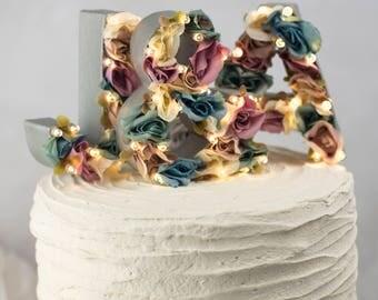 rustic wedding flower cake topper - flower letters - floral letter - barn wedding - boho wedding