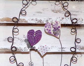 medallion hearts wire and fabric