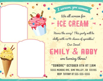 Digital Ice Cream Party Invitation for Twins