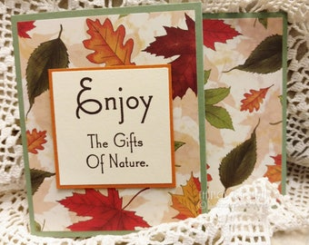 Fall Gift Card Holder, Nature Gift Card Holder, Thanksgiving Card, Hand Stamped Fall Card, Maple Leaves