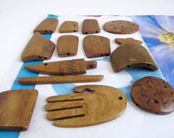 Assorted Bone Pendants, Carved Buffalo Bone Dividers, Mix Shape Pendants, Brown Freeform Separator, Carved Hand, Bone Arrowhead, 13 Pc 09052