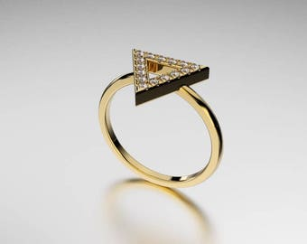 14K Gold Ring  Triangular style and 12 diamond . 0.15 TW