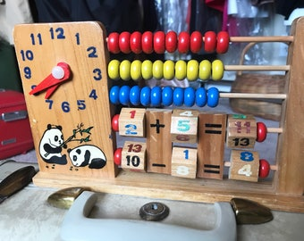 Vintage Childrens Abscus, Adorable!, Vintage Abacus with Clock/ Time, Vintage Addition & Subtraction Toys