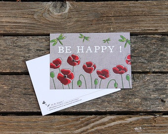 """Postcard illustrated poppies """"Be Happy!"""" by squash Pirate"""