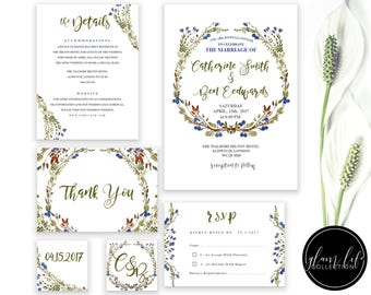 blueberry wreath floral wedding invite 1 watercolor flowers invitation clean modern luxury elegant floral RSVP wed thank you card initials