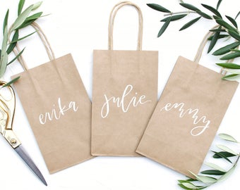 Hand Lettered Kraft Gift Bags, Personalized Gift Bags, Custom Gift Bags, Kraft Bags