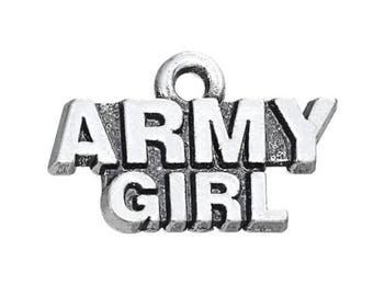 Army Girl Charm - Military Charm - Army Pendant - DIY Charm - Antique Silver - Jewelry Supplies - Pewter Necklace Charm