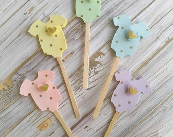 Gender Neutral Baby Shower Cupcake Toppers - Pastel Cupcake Toppers - Gold Polka Dot Cupcake Toppers - Gender Reveal Baby Shower - 12pc.