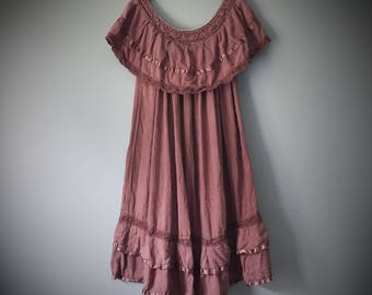 Vintage Gauze Dress Mauve Dusty Brown Rose Natural Cotton Gypsy Bohemian Dress Boho One Size Festival Summer Sundress Pirate Solid Crochet