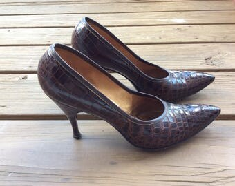 50s retro crocodile pumps reptile custom shoes size  7 mad men