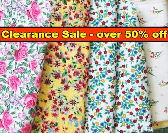 57% SALE, Clearance, Quilt Fabrics, Floral Fabric, Graphic Prints, Garden,Flowers, Leaf Fabric, Multicolored Fabric, Pink, Green, Yellow