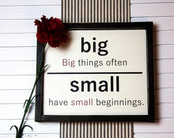 Big Things Small Beginnings Quote Antonym Wood Sign/Flashcard Inspired/Farmhouse/Fixerupper/Vintage Schoolhouse