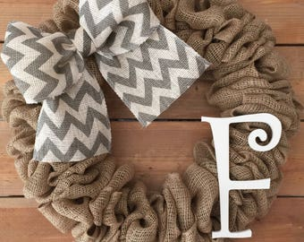 Monogram Initial F Burlap Wreath / Front Door Wreath / Rustic Wedding Decor Gift / Rustic Wreath / Front Door Initial F Hanger