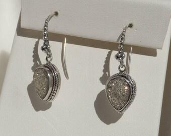 Sarda 925 Sterling Silver Druzy Earrings