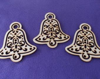 3 bells, wood, 8x8, 5 cm (24-0030A)
