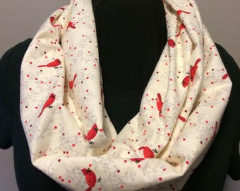 Red Cardinal Birds with Red Berries on Cream Cotton Flannel Infinity Scarf