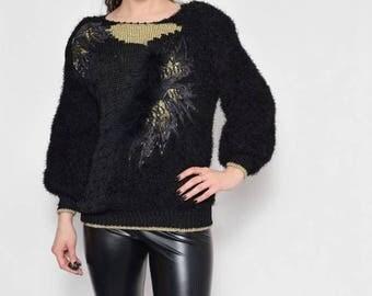 Vintage 80's Fuzzy Embellished Black Sweater