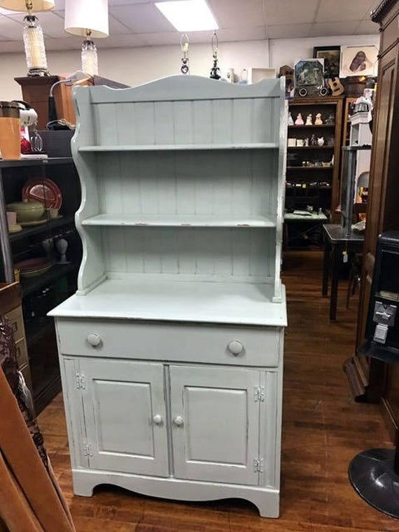 Kitchen Cabinet Hutch restyled a pale green
