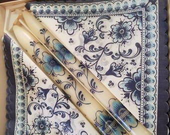 Vintage Boxed Delft Paper Napkins & Candle Set