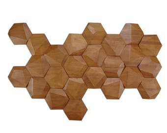 Set of 24 faceted wood tiles for wall decor / beehive tiles / honeycomb tiles
