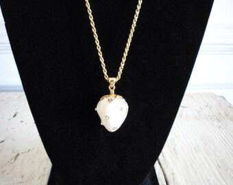 Vintage White Enamel Puffed Strawberry Rhinestone Pearl Pendant Necklace