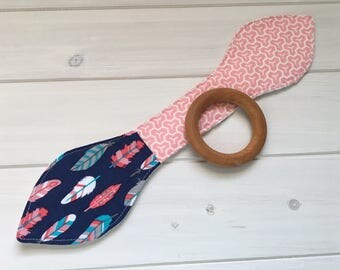 Natural Maple Wood/Teething/Teether/Ears/Chew/Toy/Ring ~ Feathers//Fletching//Native//Tribal//Honeycomb//Pink