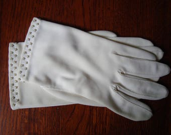 Vintage Crescendoe ladies gloves, wrist length with trim of  tiny pearls at the wrist