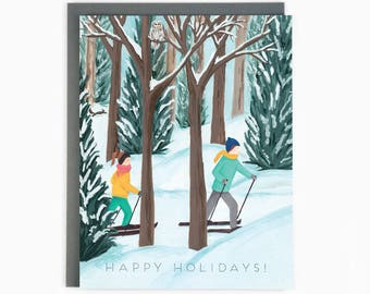 Holiday Cards - Cross Country - happy holidays - winter - outdoor - nature / HLY-CROSS-COUNTRY