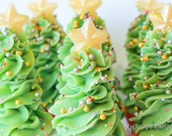 CLEARANCE** O' Christmas Tree Mini Cupcake Soap - Soap Cupcake, Christmas Tree Soap, Cold Process Soap, Vegan Soap, Coconut Milk Soap