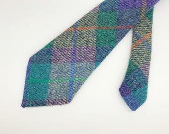Purple, green and blue check Harris tweed neck tie