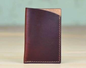 Minimalist Business Card Holder, Business Card Case, Card Wallet - Horween Brown Chromexcel