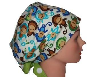 Scrub Hat Surgical Scrub Cap Chemo Vet Nurse Dr Hat Pixie European Style Monkeys Green Blue Brown 2nd Item Ships FREE
