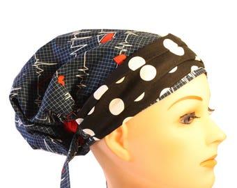 Scrub Hat Cap Chemo Bad Hair Day Hat  European BOHO Banded Pixie Tie Back Ekg Calling All Nurses Black Dot Band 2nd Item Ships FREE