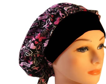 Scrub Cap Surgical Hat Chef   Dentist Hat Tie Back Bouffant Pink Ribbon Cancer Awareness Black Band 2nd Item Ships FREE