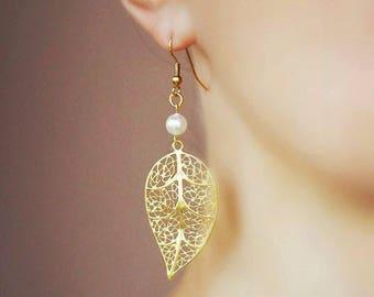 Gold Leaf Earrings Filigree Earrings White Pearl Gold Earrings Gold Plated Matt Earrings Gold Filigree Earrings Leaf Dangle Long Earrings