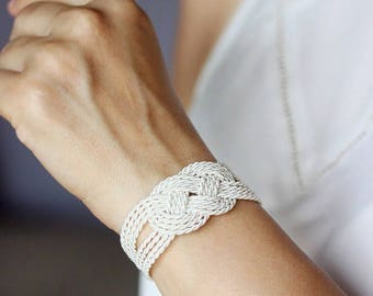 White Bracelet Rope Knot Bracelet Love Knot Bracelet Rope Jewelry Nautical Bracelet Cord Bracelet Sailor Knot Bracelet Knot Jewelry Wedding