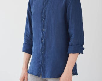 Navy Linen Snapdragon Men's Shirt